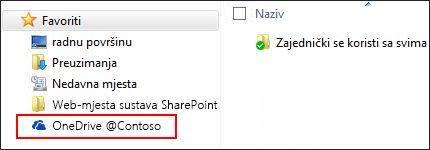 Sinkronizirana biblioteka servisa OneDrive za tvrtke u favoritima sustava Windows