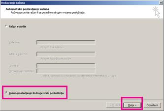 Korištenje ručnog postavljanja u programu Outlook 2013