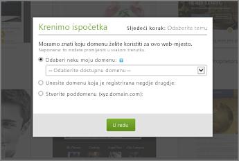 U odjeljku Pripremne radnje na servisu GoDaddy odaberite domenu s padajućeg izbornika