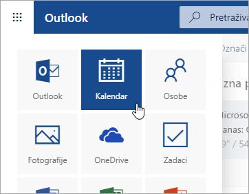 Snimka zaslona pločice Kalendar u pokretaču aplikacija