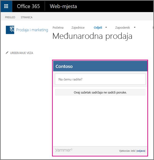 Sažetak sadržaja stranice servisa Yammer ugrađen u stranicu sustava SharePoint
