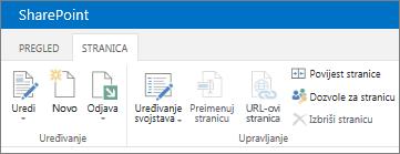 Vrpca sustava SharePoint 2013 u gornjem lijevom kutu zaslona