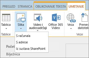Snimka zaslona na vrpci sustava SharePoint Online. Odaberite karticu Umetanje, a zatim odaberite sliku koju želite odabrati želite li da biste prenijeli datoteku s računala, web-adrese ili mjesto u sustavu SharePoint.