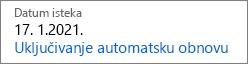 Što je isključena istekle pretplate na sliči kada automatsko obnavljanje.