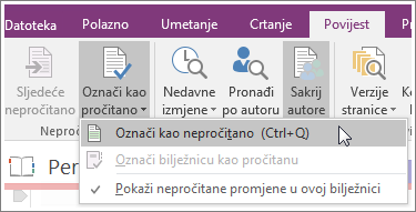 Snimka zaslona s gumbom Označi kao pročitano u programu OneNote 2016.