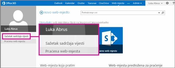Snimka zaslona stranice Web-mjesta s istaknutom vezom Sažetak sadržaja vijesti