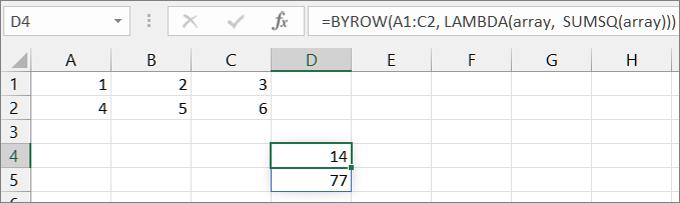 Primjer funkcije Second BYROW