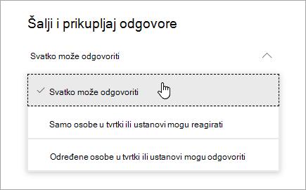Mogućnosti dijeljenja u aplikaciji Microsoft Forms