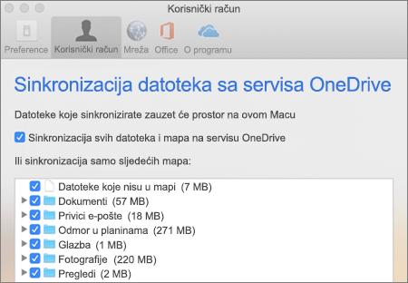 Dijaloški okvir Sinkronizacija mapa za OneDrive za Mac