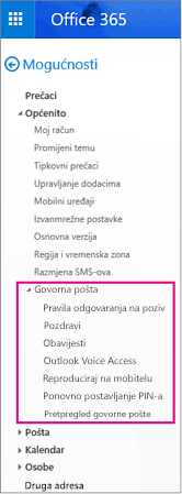 Mogućnosti govorne pošte u oknu mogućnosti e-pošte za Outlook