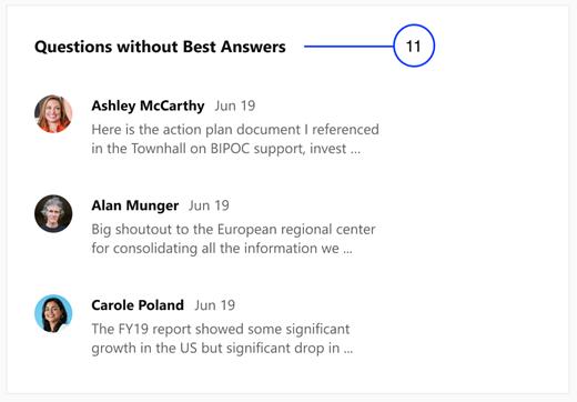 Snimka zaslona s prikazom pitanja bez najboljih odgovora u članku uvide u događajima servisa Yammer Live