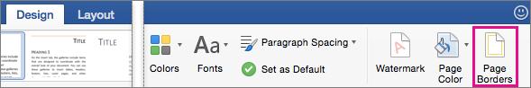 Na kartici Dizajn istaknuta je mogućnost obrubi stranice