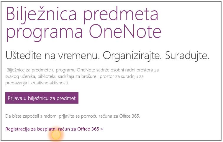 Snimka zaslona s uputama za dobivanje besplatnog računa sustava Office 365.