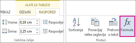 Gumb formule za alate tablice