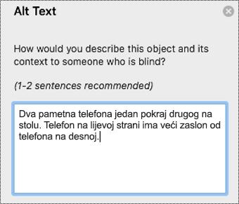 Zamjenski tekst u programu Outlook za Mac.
