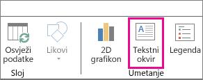 Gumb tekstnog okvira na kartici Polazno dodatka Power Map