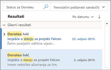 Prikaz rezultata pretraživanja u programu Outlook