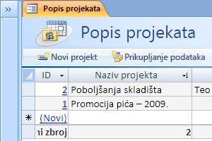 Predložak baze podataka za projekte