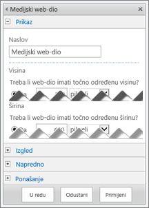snimka zaslona ploče za uređivanje medijskog web-dijela s prikazanim nekim od svojstava koja možete konfigurirati