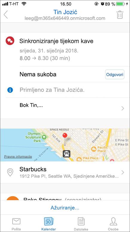 Snimka zaslona prikazuje zaslona mobilnog uređaja sa stavkom pozivnice kalendara.