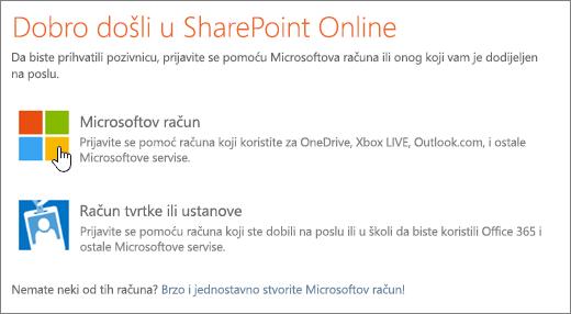 Snimka prikaza sustava SharePoint Online zaslon za prijavu.