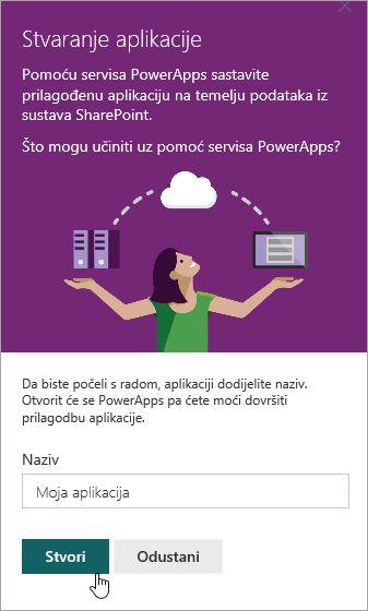 Pružanje naziv u PowerApp, a zatim kliknite Stvori.