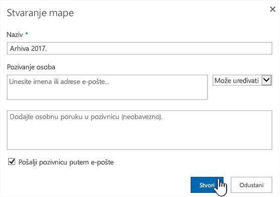 Dijaloški okvir zajedničko korištenje sustava SharePoint Online klasičan način rada