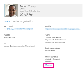 manage profiles for contact