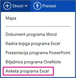Stvaranje ankete programa Excel