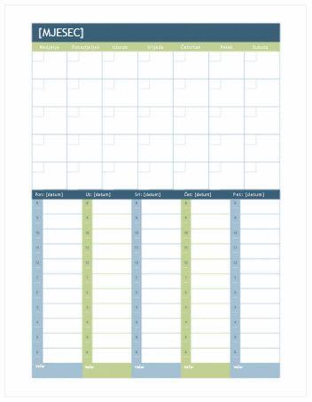 mjesečni i tjedni kalendar s planerom (word)