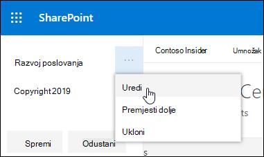 Uredite postojeću vezu ili natpis u podnožju na web-mjestu sustava SharePoint.