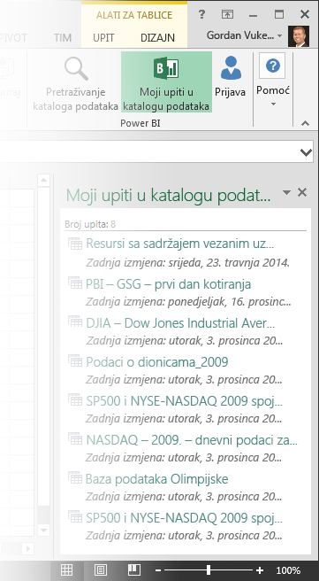 My Data Catalog Queries pane