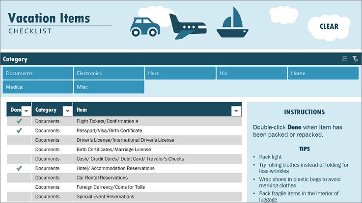 Predložak kontrolnog popisa za odmor