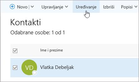 Snimka zaslona pokazivača koji se nalazi iznad gumba uređivanje na stranici osobe.