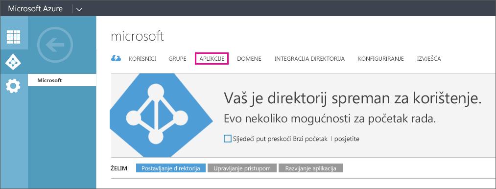 Prikazuje izbornik Azure AD s odabranom stavkom APLIKACIJE.