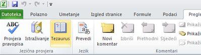 Tezaurus na kartici Polazno na vrpci programa Excel