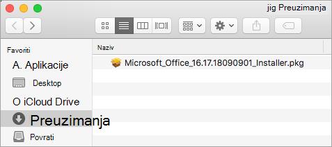 Ikona Preuzimanja na sidrištu prikazuje instalacijski paket za Office 365