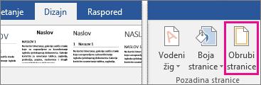 Na kartici Dizajn istaknuta je ikona Obrub stranice