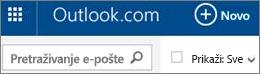 Traka izbornika servisa Outlook.com