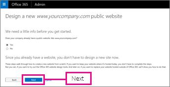 Vaša tvrtka već ima web-mjesto, pa odaberite Dalje