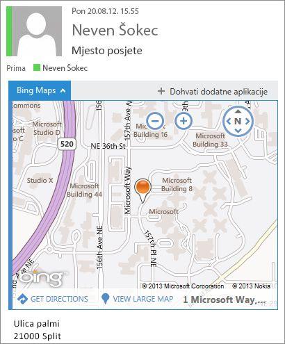 Poruka e-pošte s aplikacijom Bing karte u kojoj se prikazuje adresa na karti