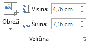 Gumb Obreži i okviri Visina i Širina za slike na vrpci sustava Office 2016