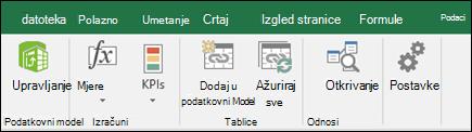 Power Pivot izborniku na vrpci programa Excel