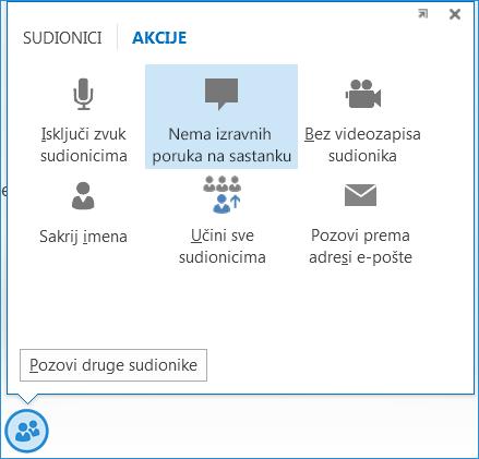Snimka zaslona s mogućnošću Nema izravnih poruka na sastanku
