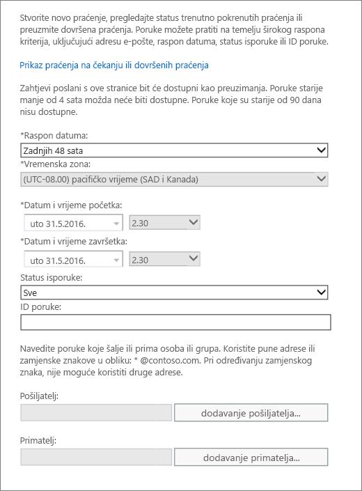 Snimka zaslona koja prikazuje dostupne mogućnosti u značajci praćenja poruke.