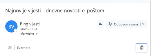 Snimka zaslona izvatka iz gornjeg dijela poruke e-pošte s istaknutom ikonom trgovine. Klikom na ikonu otvorit će se prozor Dodaci za Outlook, gdje možete pretraživati i instalirati dodatke.