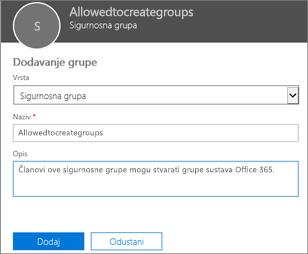 Stvorite grupu sustava Office 365 u centru za administratore.