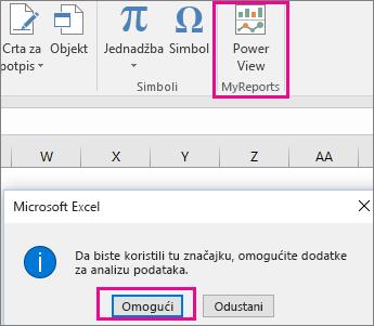 Gumb Prilagođeni zaokretni prikaz i dijaloški okvir za uključivanje dodatka u programu Excel