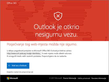 Outlook otkrio usafe vezu.