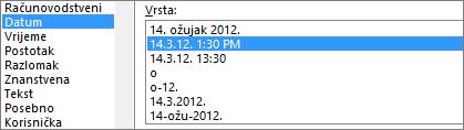 Dijaloški okvir Oblikovanje ćelija, naredba Datum, vrsta 3/14/12 1:30 PM